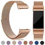 eDriveTech Bracelet Compatible pour Fitbit Charge 3 en Acier, Remplacement Bracelet de métal de Sport Bande Accessoires pour Fitbit Charge 3 Femmes Hommes