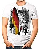 OM3® - Germany-Soccer-Girl - Herren T-Shirt EM 2020 Fußball Trikot Sexy Frau Deutschland Vintage Weiß L