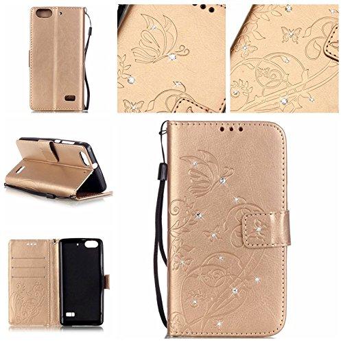Ycloud Tasche für Huawei G Play Mini (Honor 4C) Hülle, PU Ledertasche Flip Cover Wallet Case Handyhülle mit Stand Function Credit Card Slots Bookstyle Purse Design Schmetterling Blume Gold