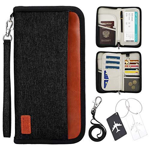 Passaporto Portafoglio da Viaggio, Protezione RFID Impermeabile Porta Passaporto Carte di Credito Documenti Custodia Porta Passaporti Famiglia Organizer per Carte di credito (Nero)