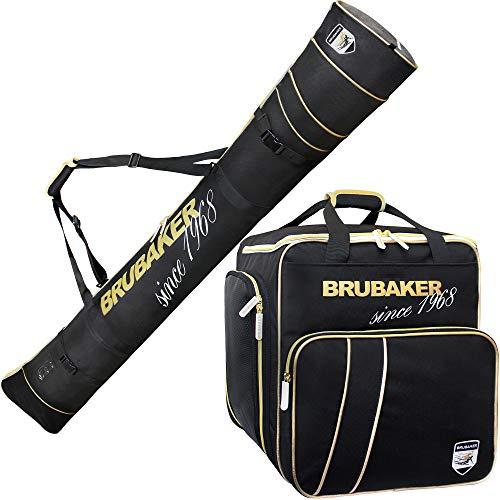 Brubaker Kombi Set Grenoble - Skisack und Skischuhtasche - Schwarz Gold - 170 cm