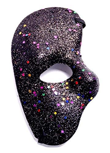 te (Schwarz) Halbe Gesichtsmaske - Geist der Oper Mit Glitzer farbig Kostüm Maskerade Karneval Halloween Cosplay ()