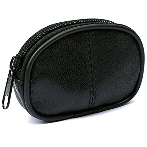 Mens and Ladies Small Real Leather Oval Shape Key Case - Coin Purse One Zip