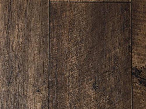 PVC-Bodenbelag XL Holzdielenoptik Rustikal Dunkelbraun | Vinylboden in 4m Breite & 4m Länge | Fußbodenheizung geeignet e PVC Planken | Stark strapazierfähiger Fußboden-Belag | Made in Germany -