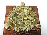 Kompass mit Sonnenuhr, Messing, 10,2 cm, voll funktionsfähig, zur Navigation, maritim, antiker Vintage-Stil