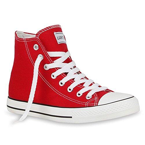 Herren Sneakers Sneaker High Denim Turn Camouflage Stoff Schnürer Schuhe 54239 Rot 41 | Flandell®