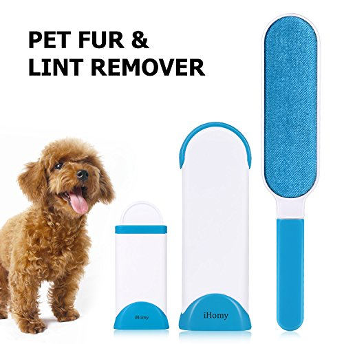 iHomy Brosse Anti-poils pour animaux domestiques - Brosse de Nettoyage Réutilisable pour Enlever les Poils d'animaux de compagnie avec poignée autonettoyante (Bleu)