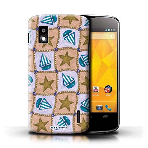Kobalt® Imprimé Etui / Coque pour LG Nexus 4/E960 / Bleu/Vert conception / Série Bateaux étoiles Brun/Bleu