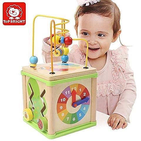 TOP BRIGHT Enfant en bois perles éducatives jouet, classique perle labyrinthe cube jouet pour bébés bambins en bois Roller montagnes russes jouets d