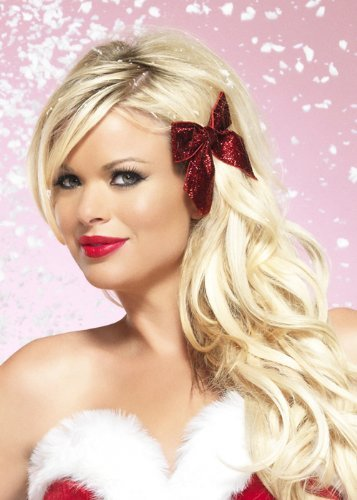 Leg Avenue - Glitter Haar Schleife - One Size - rot -