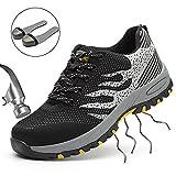 SUADEEX Arbeitsschuhe Herren Stahlkappe Damen Sicherheitsschuhe Leicht Atmungsaktiv Schutzschuhe Sportlich Turnschuhe Trekking Schuhe Traillaufschuhe- Gr. 43 EU (Etikettgröße: 44 EU), Grau