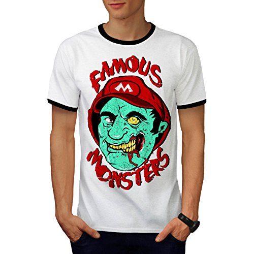 Mario Monster Tot Zombie Super Luigi Herren M Ringer T-shirt | (Kostüm Mario Super Tot)