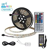 PrimeWeek Striscia Led da 5m, Led Strip RGB 5050 Kit con Telecomando IR 44key, Bias Illuminazione per Natale, Festa, Decorazione Interna