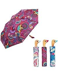 Susino Paraguas mango compacto pato de madera diseños de Paisley, color morado