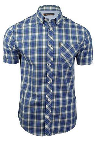 ben-sherman-chemise-casual-a-carreaux-col-boutonne-manches-courtes-homme-bleu-large