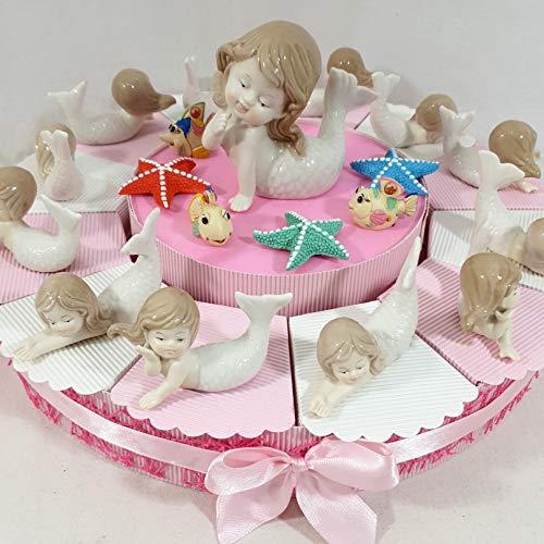 Torta bomboniera Battesimo Comunione Bimba Sirenetta Stile Mare in Porcellana - Torta con Confetti + Oggetti+ Centrale ... * (Torta 12 fette 1 Piano a)