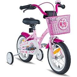 "PROMETHEUS BICYCLES - Bicicleta Infantil Para Niña, a Partir de 3 Años Con Ruedines Y Freno Contrapedal – Bicicleta Infantil 12"" Classic Edition 2019, Rosa Lila, 12 Pulgadas"