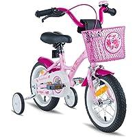 PROMETHEUS BICYCLES® 'Prometheus Enfant vélo 12pouces Fille en rose violet & blanc avec roulettes | Page freins et frein à rétropédalage–à partir de 3ans–12Classic Edition 2017