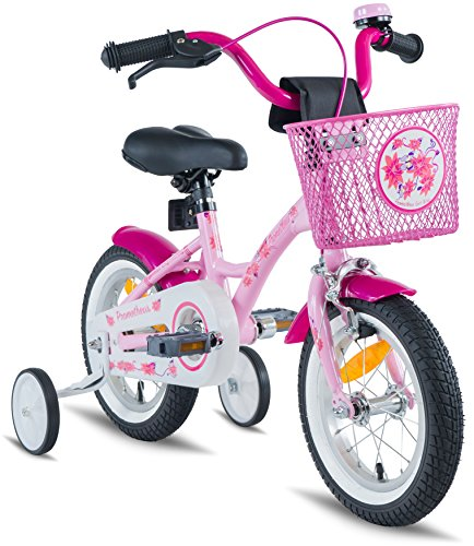 c2bc1d66fb6 PROMETHEUS Kids bike 12 inch Girls in pink purple   white with stabilisers