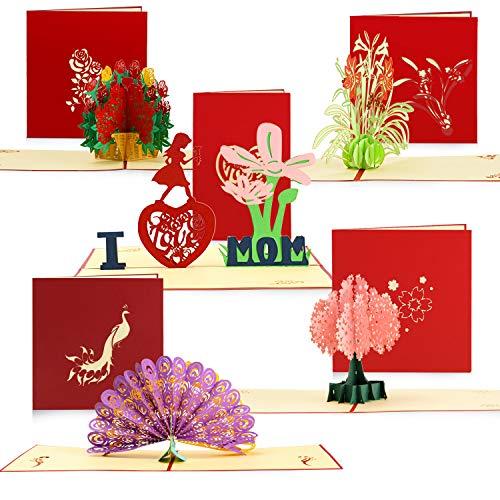 5 Stücke 3D Pop Up Karten Blumen Pfau Grußkarten mit Umschlag für Geburtstag Karten, Muttertagskarte, Abschlusskarten, Erntedankkarte, Jubiläums und Weihnachtskarte, 5 Stile