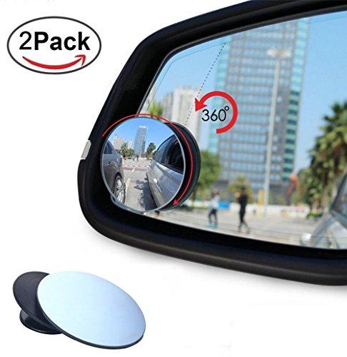 2 PCS Set Espejos para puntos ciegos Mejora redonda 2 HD vidrio sin marco convexo Gran angular 360 /° Girar Espejo retrovisor exterior ajustable para todos los camiones todoterrenos