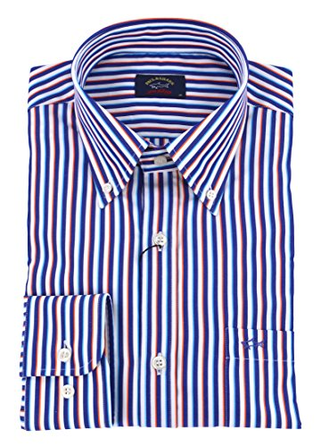 Paul & shark uomo camicia button down righe blu bianco p18p3294 073-26322 - 44