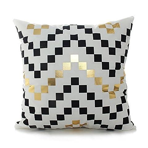 Coolsummer géométrique Noir Doré Housses de coussin bronzante Flanelle Couvre-lit décoratif Taie d