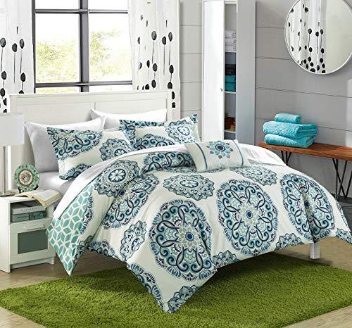 Chic Home 8teilig Barcelona Medaillon Wendbar Gedruckt Geometrische Unterstützung Bett in Einem Beutel Tröster Set mit Bogen, Full/Queen, grün (Queen-bett In Einem Beutel)
