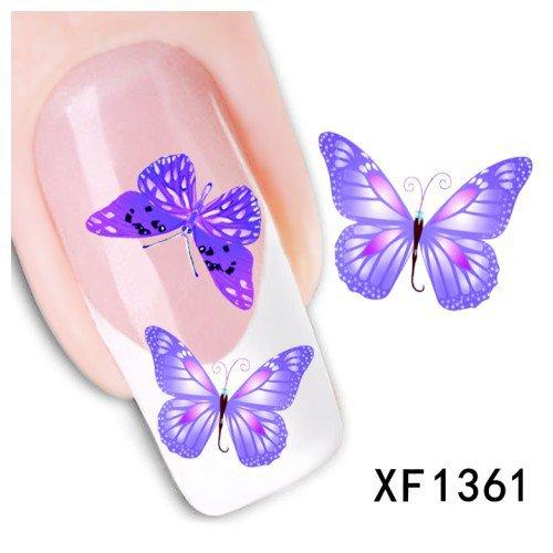 Stickers Pour Ongles stickers décalques à l'eau pour la décoration des bouts d'ongles - Papillons - XF1361 Nail Sticker Tattoo - FashionLife
