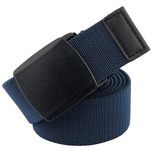mookaitedecor Unisex Gürtel Elastischer Nylon Belt für Herren und Damen mit Automatisch Schnalle, Blau(kunststoffschnalle), Einheitsgröße - Kunststoff Elastischen