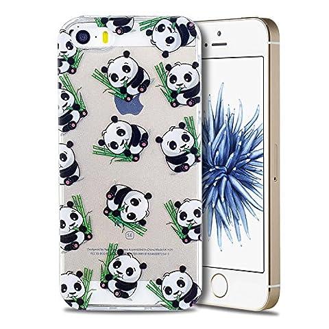 Coque iPhone 5 / 5S / SE, Coque iPhone 5 en Silicone, SpiritSun Etui Coque TPU Slim Bumper Souple Silicone Etui Coque de Protection Clair Transparente Coque Housse Flexible Doux Housse Anti Choc Protection Shell Coque Mince Légère Etui Téléphone pour iPhone 5 / 5S / SE (4.0 pouces) - Panda