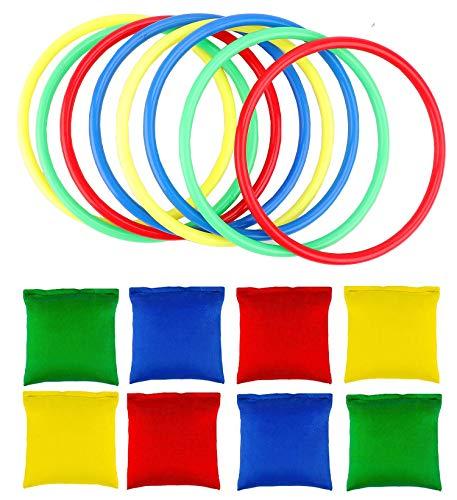 OOTSR 16 stücke Nylon Sitzsäcke Ringe Werfen Spiel Sets für Kinder, Sitzsäcke Werfen Legged Race für Indoor Outdoor Familien Spiel - Outdoor-spiel-set