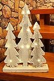Kamaca LED Baum - Lichter, 15 er LED Lichterbaum mit Schnee - Holz, Hand Gesägt, Warm Weisse Lichterkette, der Perfekte Weihnachtsbaum für Schreibtisch, Tisch, Fenster, Schrank, Treppe, Haustür - Neu