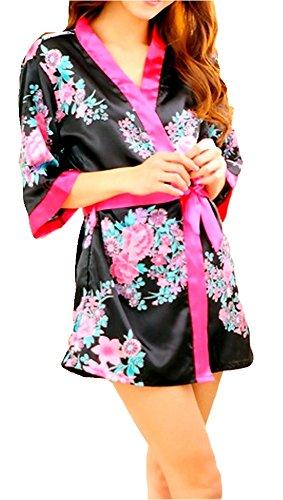 Geblümter Japan Kimono Morgenmantel mit Gürtel + String Geisha Cosplay ca 34-38 von bunny-shop (Gürtel Geblümter)