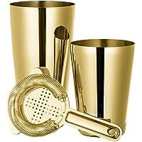 Juego de 3 piezas de coctelera Boston con 550 ml y 700 ml para coctelera y colador de cóctel de Hawthorne (paquete de regalo) Gold Plated