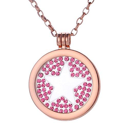 Morella Damen Halskette rosegold 70 cm Edelstahl mit Amulett und Coin 33 mm Stern in Schmuckbeutel