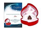 Echte Sternschnuppe in roter Herzbox ✪ inkl. persönlichem Widmungszertifikat mit Deinem Wunschtext | als romantisches Valentinstagsgeschenk, Geburtstagsgeschenk, zur Taufe oder zum Jahrestag