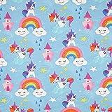 Fabulous Fabrics Baumwolljersey Einhorn Happy Yuni – hellblau — Meterware ab 0,5m — Oeko-Tex Standard 100 — zum Nähen von Kinderbekleidung und Babybekleidung
