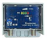 Amplificatore da palo per antenne digitali con visualizzatore dell'intensità del segnale ricevuto. Un ingresso logaritmico (VHF+UHF), guadagno 32 dB, per zone con segnale medio-debole.