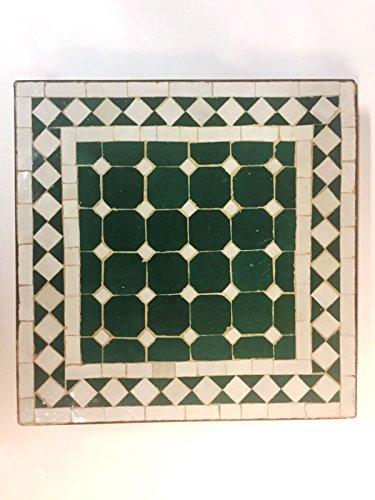 ORIGINAL Marokkanischer Mosaiktisch Gartentisch 40x40cm Groß eckig | Eckiger Mosaik Esstisch Mediterran | als Tisch für Balkon oder Garten | Marrakesch Grün Weiß 40x40cm