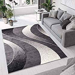 Alfombra Moderna - Color Gris Oscuro Diseño Ondas - Varias Dimensiones S-XXXL 300 x 400 cm