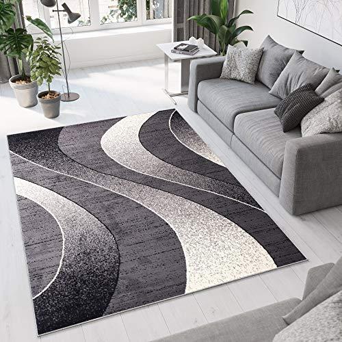 Tapiso Alfombra De Salón Moderna - Color Gris Oscuro Diseño Ondas - Varias Dimensiones S-XXXL 130...