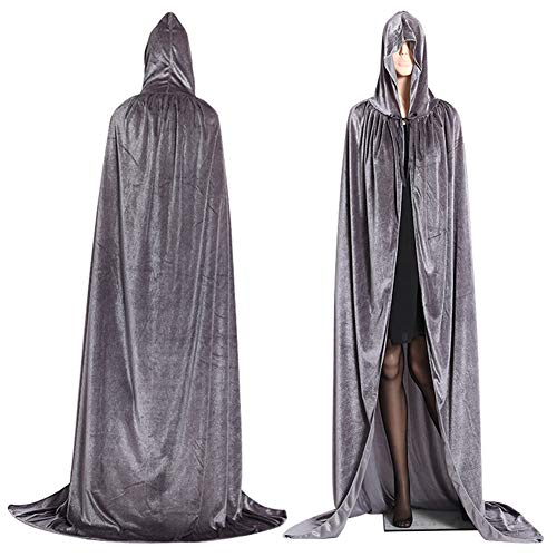 FUVOYA Halloween Unisex Largo Terciopelo Encapuchado Capa de Lujo Vampiro fantasía Vestido de Boda Bruja