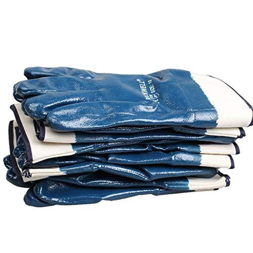 QYLOZ Handschuhe aus Nitrilkautschuk Ölbeständige Arbeitsschutzhandschuhe aus Tauchgummi Speziell zum Be- und Entladen von Verpackungen und zur mechanischen Wartung, 10 Paar Geräte -