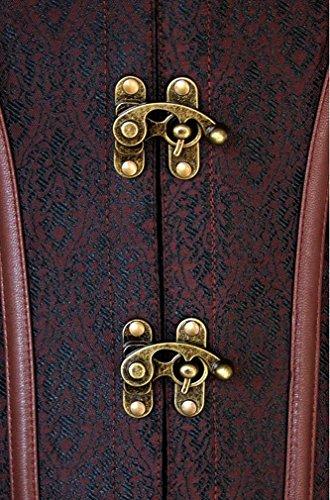 Charmian Women's Spiral Steel Boned Steampunk Gothic Bustier Corset with Chains Dark-Braun