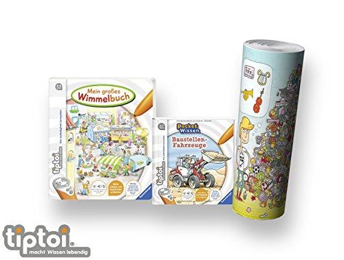 Ravensburger tiptoi ® Buch 4-7 | Mein großes Wimmelbuch + Pocket Wissen - Baustellen-Fahrzeuge + Kinder Wimmel Such-Poster (Pocket-buch Mein)