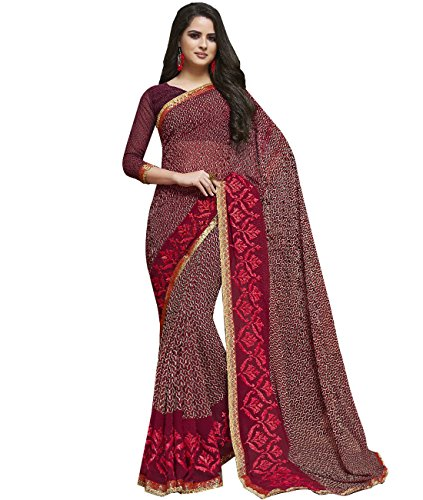 Indian Ethnic Faux Georgette Maroon Printed Saree (Skirt Abstract Print)