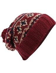Bonnet à motif hivernal et à pompon - Homme
