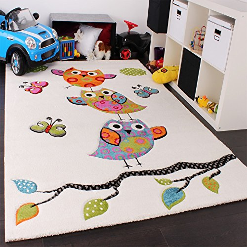 Kinder Teppich Niedliche Eulen Creme Blau Orange Grün, Grösse:120x170 cm