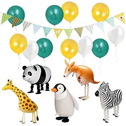 ETLEE Jungle Party Deko - Walking Tier Ballons & Dreieck Flagge Banner & Latex Luftballons für Zoo/ Dschungel Thema Geburtstag